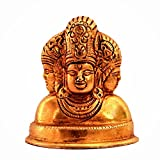 Purpledip Brass Statue Dattatreya : Lord Brahma Vishnu Mahesh Shiva Tridev Trimurti Statue for Home Temple, Office Table, Shop Counter (11187)