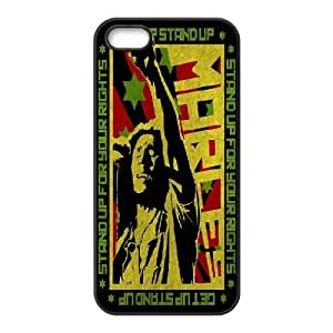IPhone 5,5S Case Bob Marley Stand up for Your Rights, Bob Marley Bloomingbluerose, {Black}