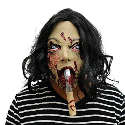 DecorFav Costume Party Ghost with Hair Spooky Masks Latex Terror Props Accessory Cosplay Dress for Halloween Haunted House -