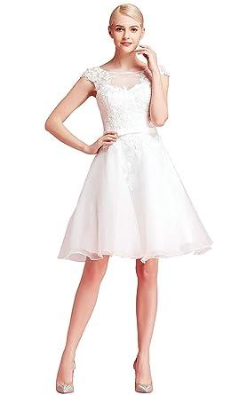 Yasiou Hochzeitskleid Kurz Standesamt Weiss Vintage Spitze Organza A