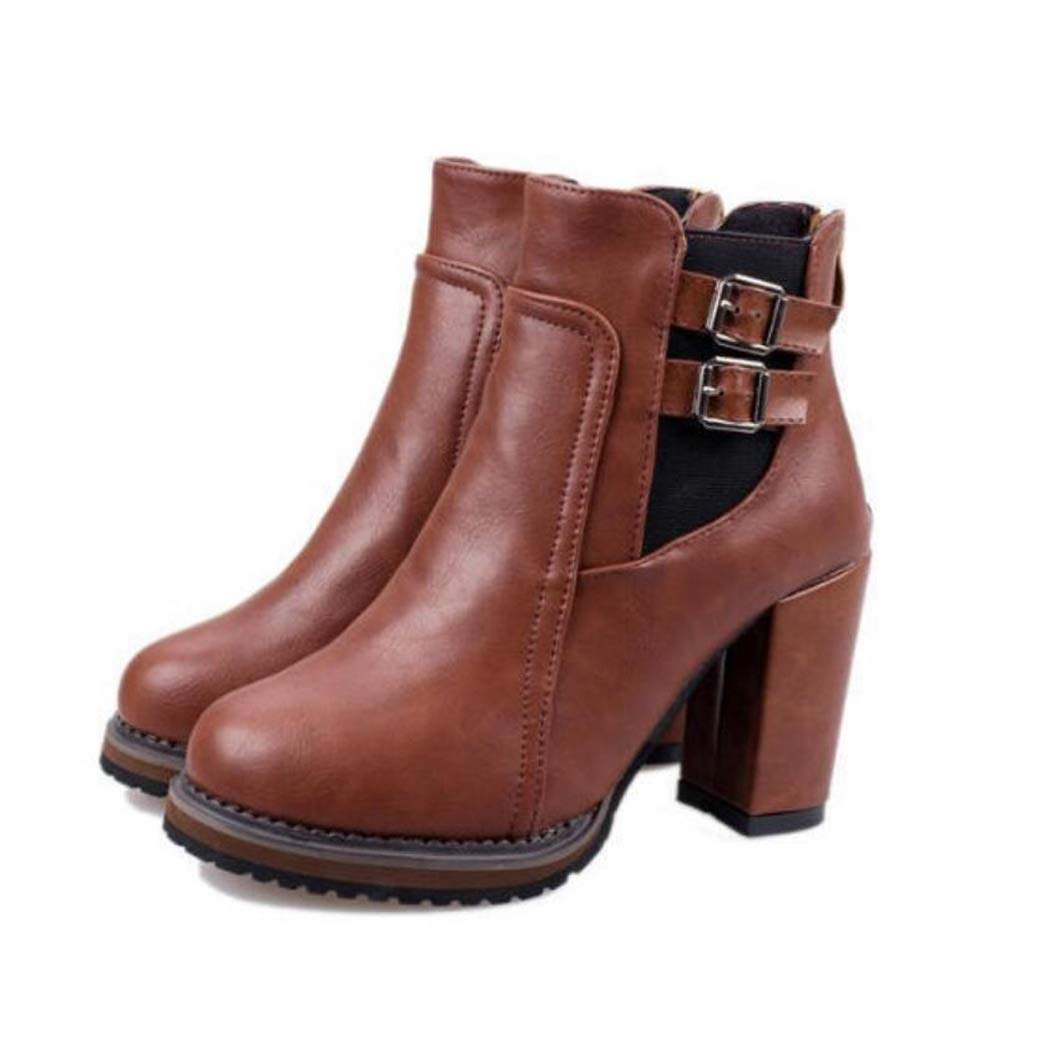 Zxcvb Damen Outdoor Schuhe Herbst und Winter Retro Dick mit Gürtelschnalle Stiefel Koreanische hochhackige elastische Damenstiefeletten