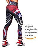 america pants - Active4U Superhero Crossfit Leggings Women Colombian Yoga Pants Compression Tights (Small-Medium, Captain America)
