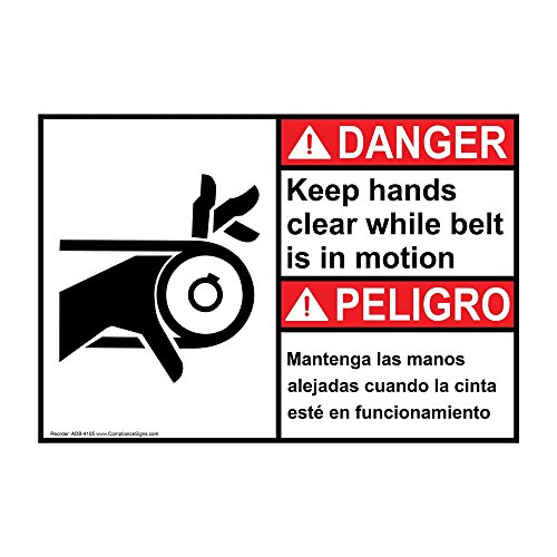Danger Keep Hands Clear While Belt is in Motion English + Spanish ANSI Safety Label Decal, 5x3.5 in. Vinyl 4-Pack by ComplianceSigns