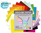 Origami Paper 500 Sheets, 20 Vivid Colors, Double Sided Colors Make Colorful and Easy Origami,6 Inch Square Sheet, for Kids & Adults, Papers, Arts and Crafts Projects (E-Book Included)