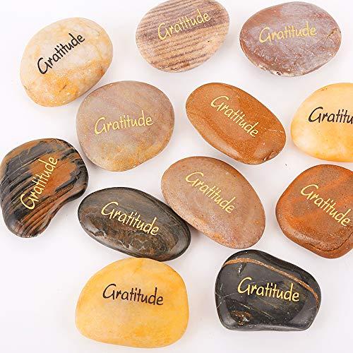 (12pcs RockImpact Gratitude Inspiration Stone Engraved Pocket Stone Natural River Rock Word Stone Bulk Lot Gratitude Stones Bulk Magic Rocks Wholesale Price (Pack of 12, Gratitude Rocks Bulk))