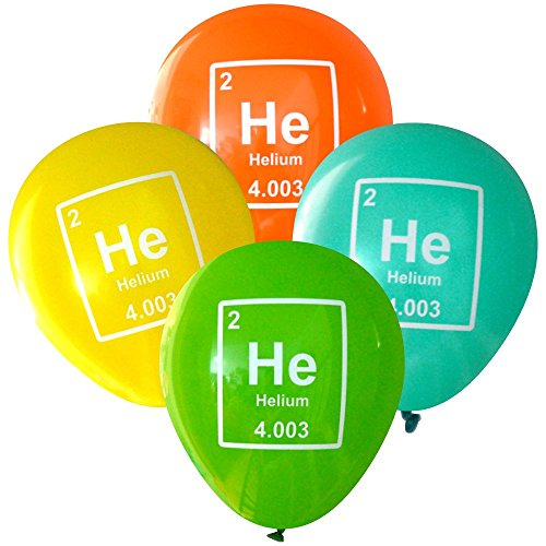 Nerdy Words Science Party Balloons - Helium (He) Periodic Table Element (16 pcs, Deluxe 2-Sided) (Orange, Yellow, Aqua, Lime)
