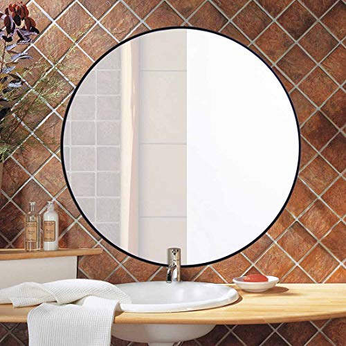 Round Bathroom Mirror for Wall, 24 Inch Black Circle Mirror with Modern Premium Stainless Steel Metal Frame Wall Mounted for Bathroom, Entryway, Vanity, Living Room, Bedroom (On For Mirror Decorating Mirror Bathroom)