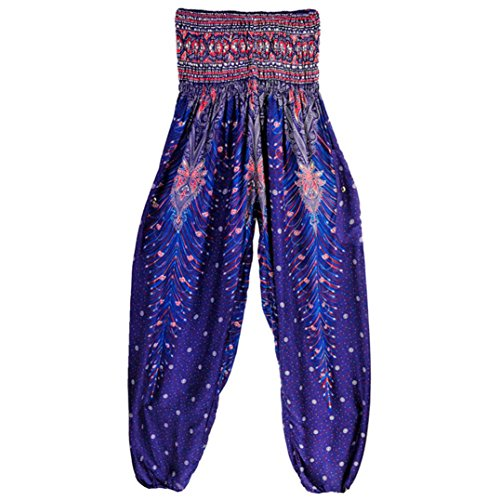 Owill Men Women Thai Harem Trousers Boho Festival Hippy Smock High Waist Yoga Pants (Navy, one (Cotton Plaid Trousers)