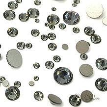 BLACK DIAMOND (215) 144 pcs Swarovski 2058/2088 Crystal Flatbacks rhinestones nail art mixed with Sizes ss5, ss7, ss9, ss12, ss16, ss20, ss30 **FREE Shipping from Mychobos (Crystal-Wholesale)**