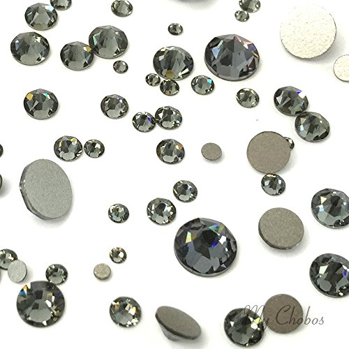 - BLACK DIAMOND (215) 144 pcs Swarovski 2058/2088 Crystal Flatbacks rhinestones nail art mixed with Sizes ss5, ss7, ss9, ss12, ss16, ss20, ss30