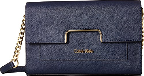 Calvin Klein Women's Saffiano Leather Flap Crossbody Navy One Size