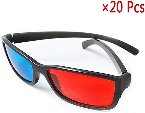 Gafas 3D Rojo Azul, Lentes De Contacto De Color para Ojos Gafas 3D para Películas Projecto - para Películas Caseras Y TV - 20 Piezas: Amazon.es: Deportes y aire libre