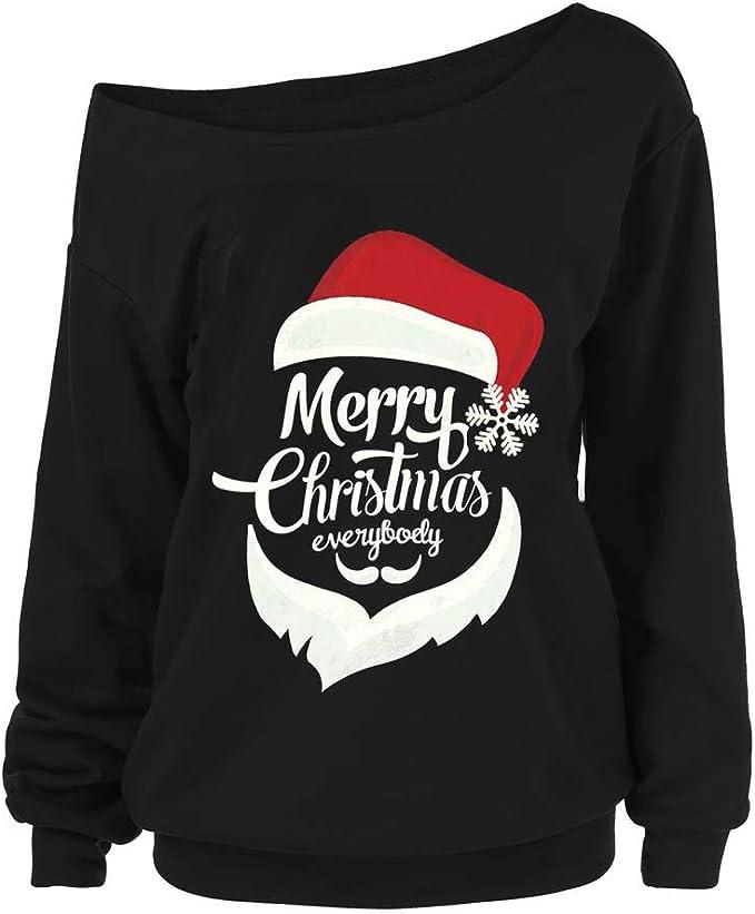 Vestito Natale Donna Lungo Natale Felpa da Donna Stampa Babbo di Natale Lunga Felpe Natalizie Pullover Manica Lunga Camicetta Tops Natalizio Maglioni Donna