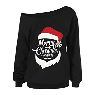 4735e4092e79a Women s Christmas Blouse Sexy Off Shoulder Long Sleeve Pullover Top Tee  Shirt at Amazon Women s Clothing store