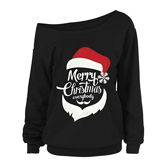Zackate Women Christmas Sweater Santa Print Off Shoulder Long Sleeve Sexy Blouse Xmas Shirt Top at Amazon Womens Clothing store: