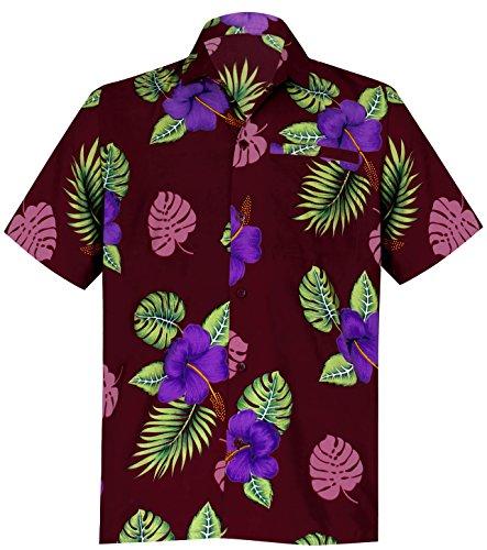 LEELA Likre Beach Point Collar Shirt Maroon 248 Medium | Chest 40