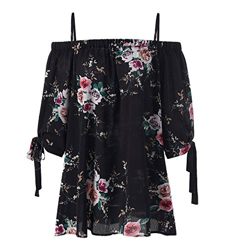 (iTLOTL New Womens Plus Size Floral Print Cold Shoulder Blouse Casual Camis Tops(XX-Large,Black-C))