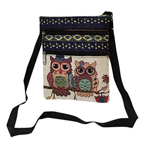 (Postman Handbags, Paymenow Embroidered Owl Tote Bags Linen Women Shoulder Bag Crossbody Postman Package (GG))