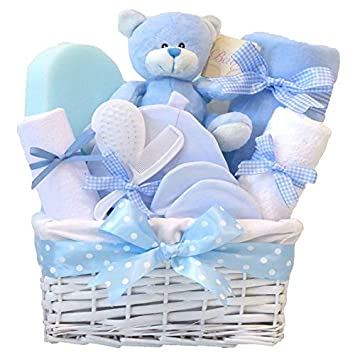 003052de770c0 Angel DELUXE Baby Boys Gift Hampers Blue Baby Shower Boy Newborn Hamper Gift  for Boys   New Born Baby Boy Gifts Baskets ...