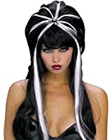 Sexy Halloween Costume Goth Long Black/White Witch Wig Womens Standard