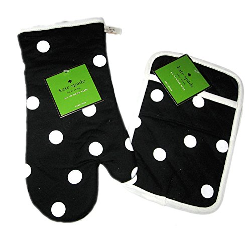 Kate Spade New York 2 Piece Kitchen Set - Oven Mitt, Pot Holder in Scattered Dots Black/White