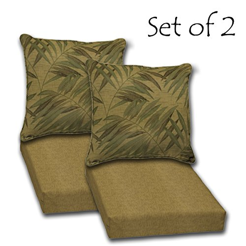 SET OF 2 Outdoor Deep Seat Reversible Cushions. Seat: 24