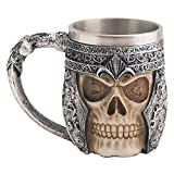 JWSJ FADA Creative 3D Skull Mug Stainless Steel,Medieval Viking Warrior Skull Armor Coffee Tea Cup Beer Mug Bar Cup,Halloween Decor, Party Trick Cup