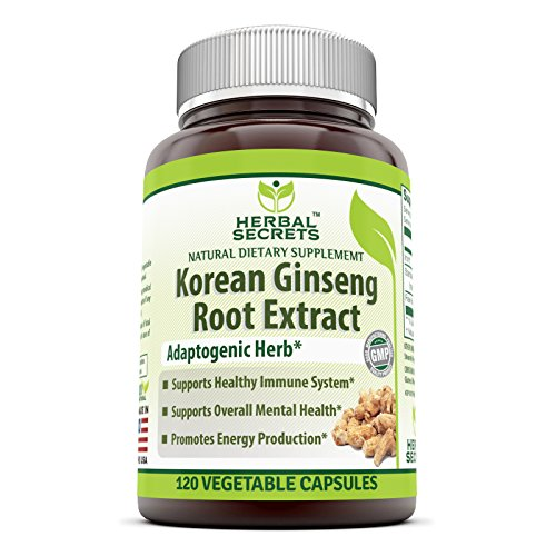 Herbal Secrets Korean Ginseng Root Extract Complex Dietary Supplement with Iron – 120 Vegetable Capsules-supports healthy immune system* Supports overall mental health*