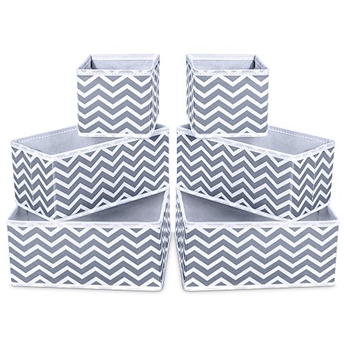 iSPECLE Foldable Cloth Storage Bins, Cloth Storage Box Closet Underwear Organizer Cube Basket Containers Drawer Dividers for Bras, Socks, Ties, Scarves, Cosmetics - Set of 6, Grey Chevron Pattern