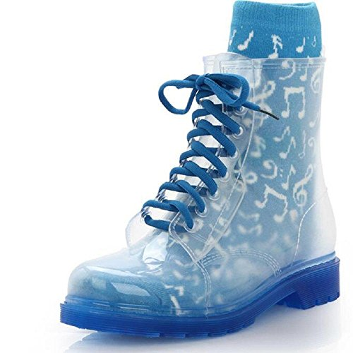 Women Transparent Rain Boots Rubber Lace Up Women Ankle Boots Waterproof Casual Comfort Ladies Martin Boots Shoe Blue 7rbiBt