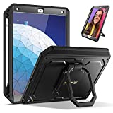 Fintie Tuatara Magic Ring Case for iPad Air 10.5-inch (3rd Gen) 2019 and iPad Pro 10.5-inch 2017, 360 Rotating Grip Stand Shockproof Rugged Cover with Built-in Screen Protector, Pencil Holder (Black)
