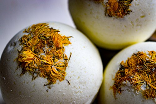Dandelion Oil Infused Bath Bomb - 100% Organic - Lavender Eucalyptus - Great for Aches, Pains & PMS - Large Size - 5.5 oz