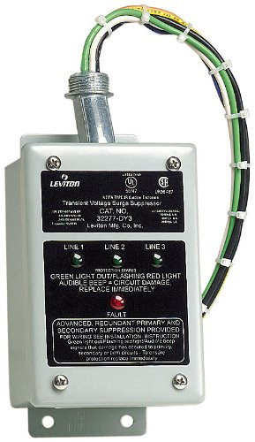 Leviton 32277-DY3 277/480 Volt, 220/380 Volt, 480 Volt 3-Phase Wye Or Delta, Surge Panel, DHC and X10 Compatible, 80Ka L-N Max Surge Current by Leviton