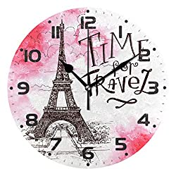 One Bear Paris Tower Time to Travel Wall Clocks Battery Operated Non Ticking Silent Eiffel Tower Round Wall Clock Home Decorative for Office School Art Kitchen Clocks