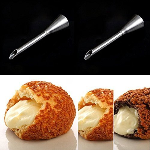 HULISEN 4Pcs Cream Icing Piping Nozzle Tip Stainless Steel Long Puff Nozzle Tip Decorating Tool by HULISEN
