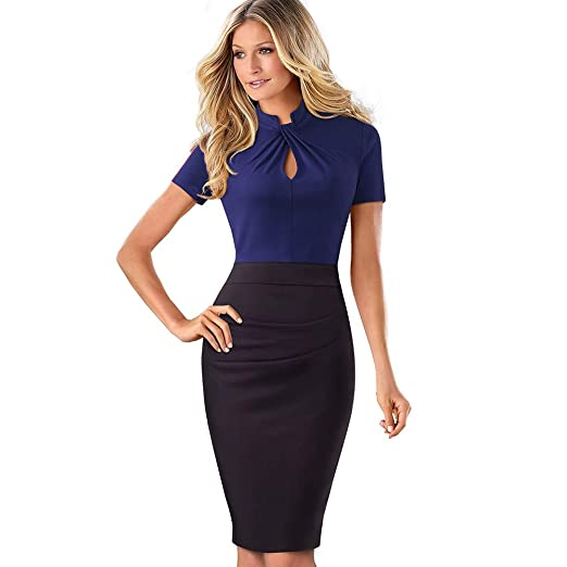 8b56779298cb ROSE IN THE BOX Womens Short Sleeve Elegant Slim Bodycon Business Pencil  Dress at Amazon Women s Clothing store