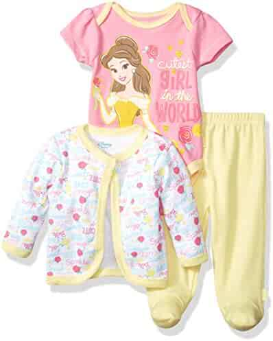 Disney Baby Girls' Beauty and the Beast 3-Piece Bodysuit, Pant, and Jacket Set