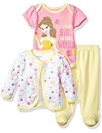 Baby Girls' Beauty and the Beast 3-Piece Bodysuit, Pant, and Jacket Set