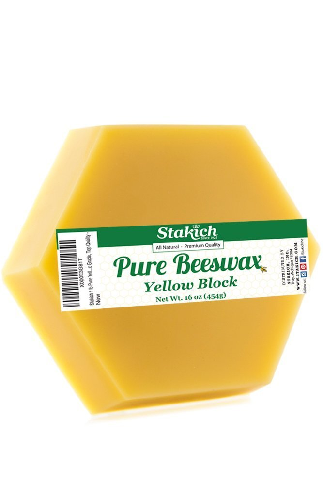 Stakich Pure Yellow BEESWAX Block - 100% Natural, Cosmetic Grade, Premium Quality - (1 lb) Inc. 4336841782
