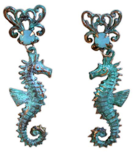 Seahorse Dangle Earrings - Pacific Opal Swarovski Crystals (Earrings Pacific Sea)