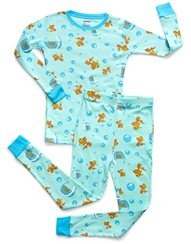 Leveret Organic Cotton Fish Tank 2 Piece Pajama Set 8 Years