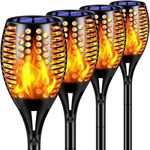 """TomCare Solar Lights Upgraded, 43"""" Waterproof Flickering Flames 96 LED Torches Lights Outdoor Solar Landscape Decoration Lighting Auto On/Off Pathway Lights for Garden Patio Driveway, Black(4)"""