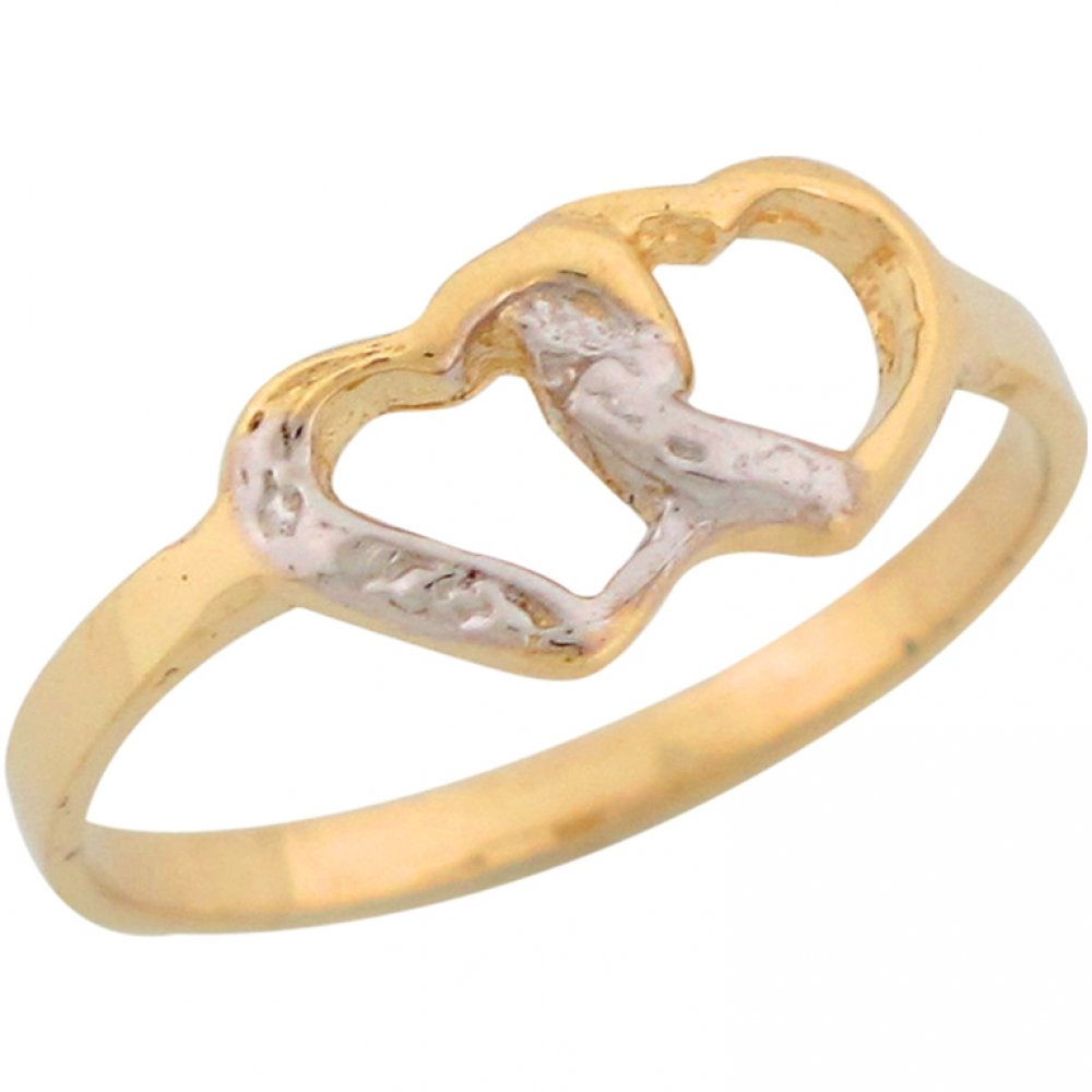 14k Two Tone Real Gold Dainty Double Floating Hearts Cute Girls Ring