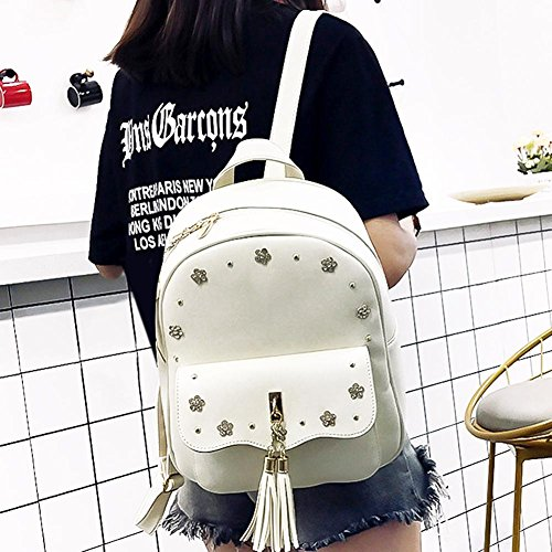 Composite Bag Backpack White PU Pink Set Shoulder Round Flowers Women Chain Bags 3pcs Vintage Card Akaddy Bxqvw
