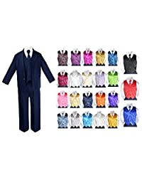 7pc Baby Toddler Boy Teen Party Wedding NAVY Suit set Satin Necktie & Vest 8-20
