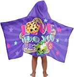 Shopkins Star Super Soft & Absorbent Kids Hooded Bath/Pool/Beach Towel, Featuring Kooky Cookie & Apple Blossom - Fade Resistant Cotton Terry Towel, 22.5'' Inch x 51'' Inch (Official Shopkins Product)