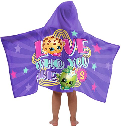 Shopkins Star Super Soft & Absorbent Kids Hooded Bath/Pool/Beach Towel, Featuring Kooky Cookie & Apple Blossom - Fade Resistant Cotton Terry Towel, 22.5