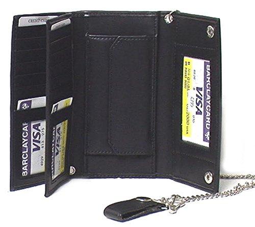 Elegant Faux Leather Men's Tri-fold Biker / Truckers' Wallet Black #4795 US
