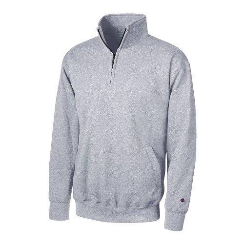 Champion Men's Eco Fleece 1/4 Zip Sweatshirt_Light Steel_2XL - Champion Thongs