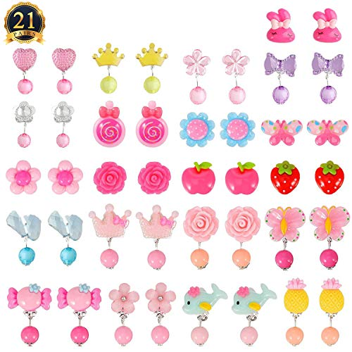 HaiMay 21 Pairs Clip-on Earrings Girls Play Earrings for Party Favor, All Packed in 3 Clear Boxes]()